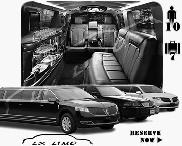 Stretch Limo airport shuttle in Fresno