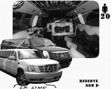 Cadillac Escalade 20 passenger SUV Limousine for rental in Fresno, CA